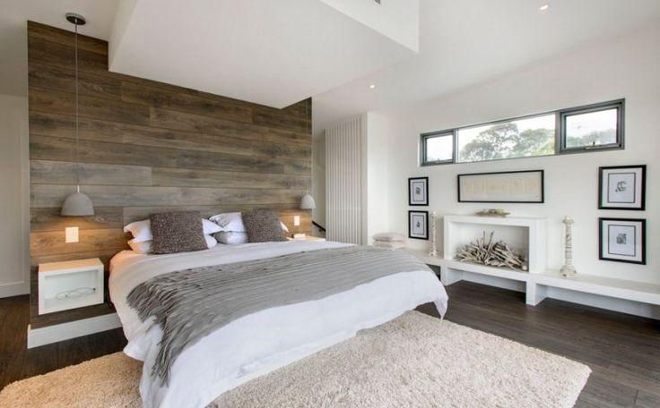 chambre lambris taupe chambre taupe aux accents blancs et lambris mural en bois massif plus - Chambre Adulte Lambris