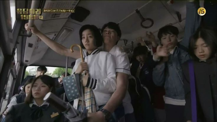 Episode 4: Junghwan protecting Dukseon from being tossed around in the crowded bus