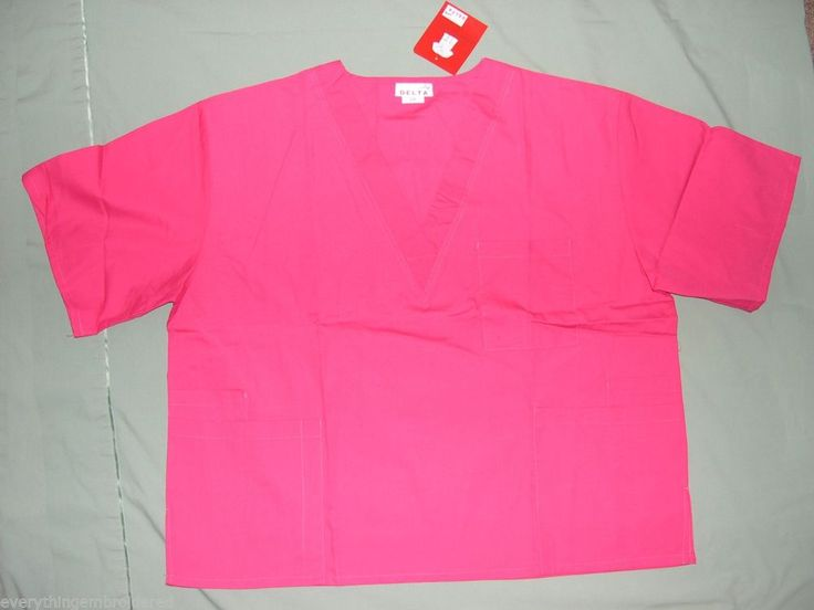 HOT PINK DELTA SCRUB V NECK TOP 3 POCKET PERSONALIZED UNISEX SIZE 3X cotton/poly #DELTA