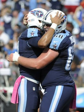 Browns vs. Titans:      October 16, 2016  -  28-26, Titans  -       Titans tight end Anthony Fasano (80) and Titans center Ben Jones (60) celebrate Fasano's fourth-quarter touchdown against the Browns at Nissan Stadium Sunday, Oct. 16, 2016, in Nashville, Tenn.  George Walker IV / The Tennessean