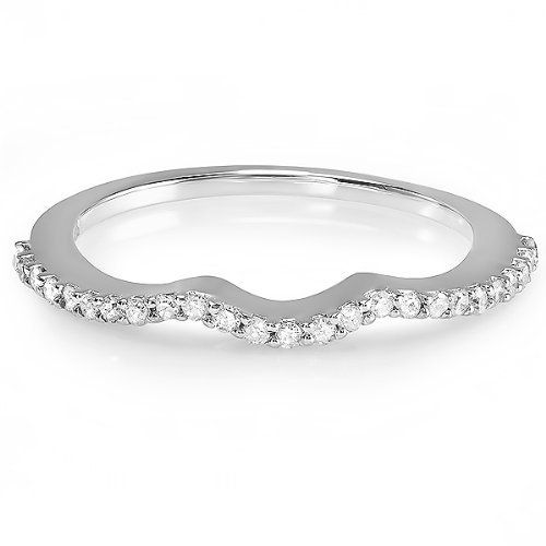 0.25 Carat (ctw) 14k White Gold Round Diamond Ladies Anniversary Wedding Band Guard Ring 1/4 CT DazzlingRock Collection. $189.00. Diamond Color / Clarity : I-J / I2-I3. Items is smaller than what appears in photo. Photo enlarged to show detail. Just the perfect Band for that perfect couple.. Crafted in 14K White Gold.. Weighs approximately 1.61 grams