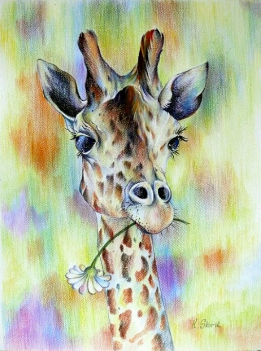 .giraffe & flower watercolour