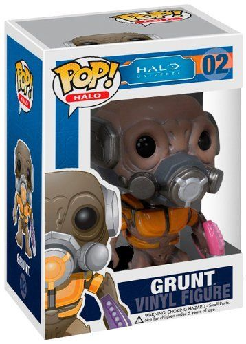 """Funko POP Halo Grunt Vinyl Figure by Funko. $10.99. Collectible Halo POP. Measures less than 4"""". Perfect for your desk or shelf. From the Manufacturer                Now there's an interesting fellow. Derived from the Halo video game series, this stylized Halo Grunt Pop. Vinyl Figure stands 3 3/4""""es tall. Unless you've got an Elite or two to lead and control him, you'd better capture this short, cowardly creature now, before he flees in terror at the very thought of joining..."""