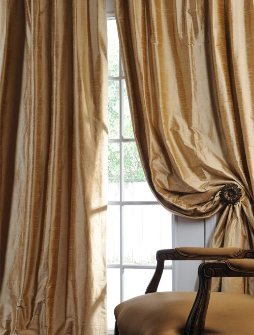 Biscotti Textured Dupioni Silk Curtains. Not this color, but a flowing, sexy dupioni curtain over the sliding glass door.