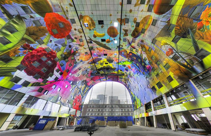 arno coenen   iris roskam wrap rotterdam's markthal in a digital mega-mural - designboom   architecture