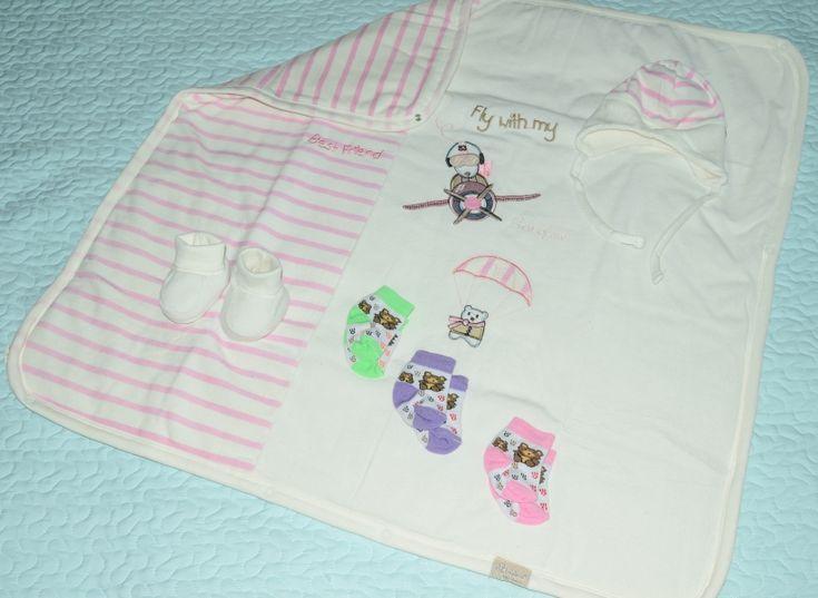 Kız Bebek Battaniye Kundak - 3 Çift Çorap Hediyeli