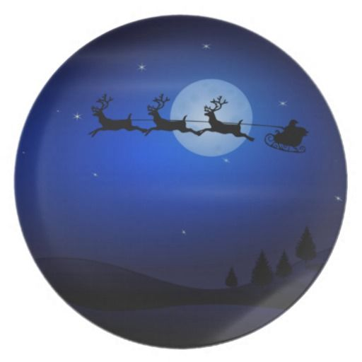 Santa & Sleigh Silhouette on Midnight Sky Plate from www.allthatart.com