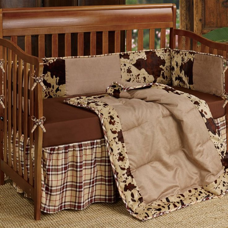Our Cowhide Print Western Crib Bedding Set features faux suede and cowhide print. 3pc set includes: quilt, bed skirt, and bumper. Ships from the manufacturer within 2-4 business days. Related