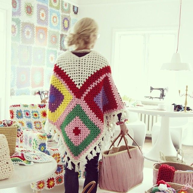 My latest crocheted granny square poncho. I love granny squares