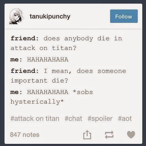 Attack On Titan (Shingeki no Kyojin) WAhhhhhhhhhhh NOT EVEN FUNNY :< :,(