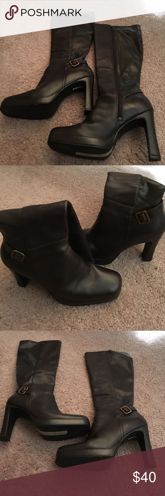 Knee High Brown Boots Size 9 Brown zip up boots knee high with heel Shoes Over the Knee Boots
