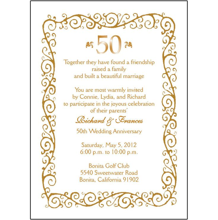 17 best Golden Wedding Anniversary Invitations images on Pinterest ...
