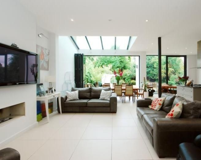 photo of open plan white dining area living room lounge with glass roof house ideas