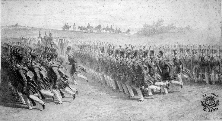 Infanteria valahă defilând în pas de marş