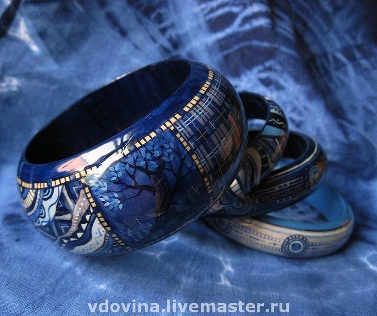 """Купить браслеты """"Синяя история"""" - синие браслеты, синий цвет, комплект браслетов, браслеты с росписью"""