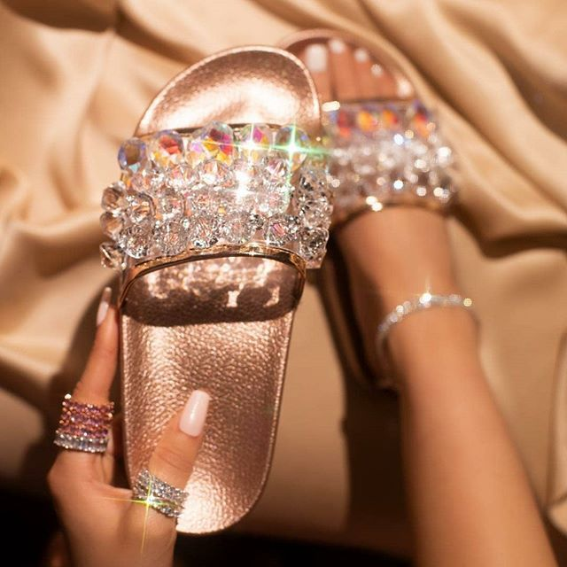 Womens Ladies Slip On Pearl Diamante Open Toe Sliders Flat Sandals Sizes UK 4-8