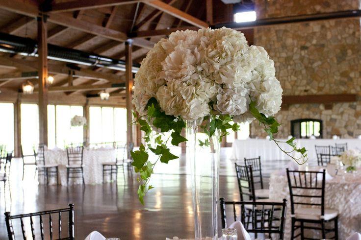 Tall white hydrangea centerpiece oadwayflorist