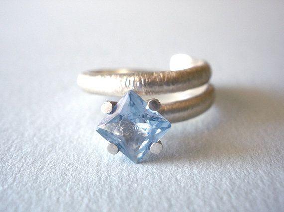 FREE SHIPPING Aqua Blue Square Cubic Zirconia Silver Ring