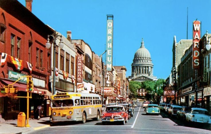 A Busy Day On State Street In Madison Wi 1956 Notice