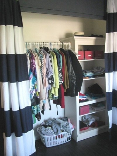 Using Curtains As Doors Makes The Closet Feel Larger And Allows For More  Options In Organization