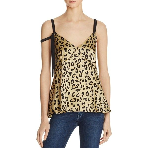 Cinq a Sept Leopard Sacha Silk Top (£131) ❤ liked on Polyvore featuring tops, leopard print, silk camisole, leopard cami, leopard print tops, camisole tops and beige cami