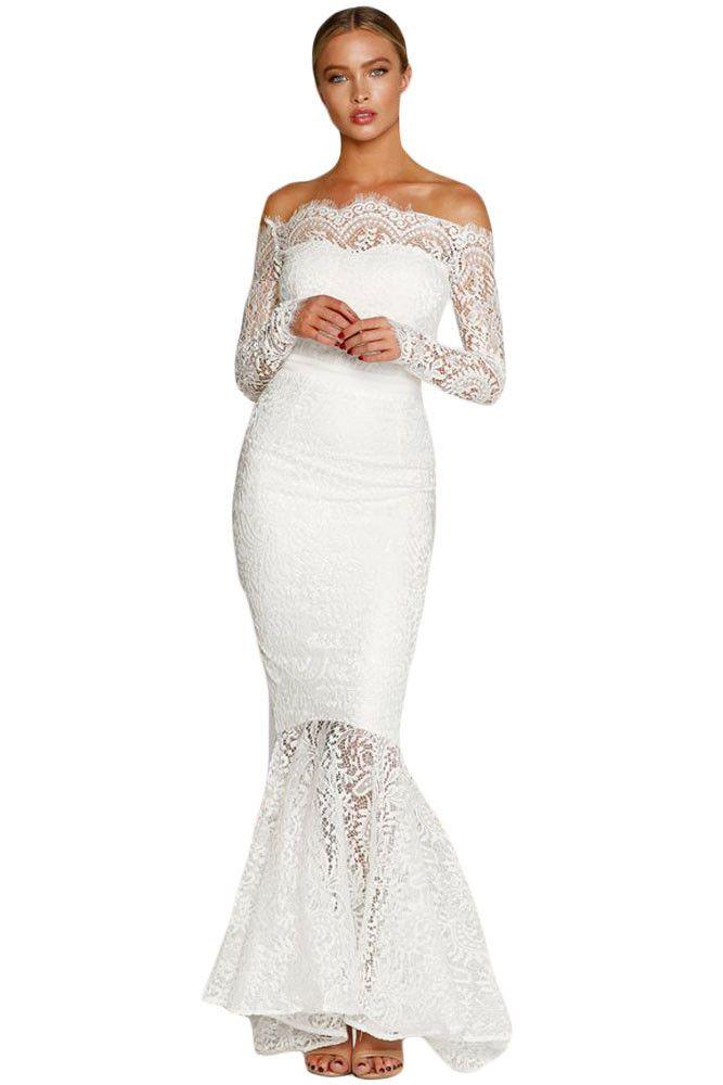 White Eyelash Lace Off Shoulder Long Sleeve Mermaid Dress