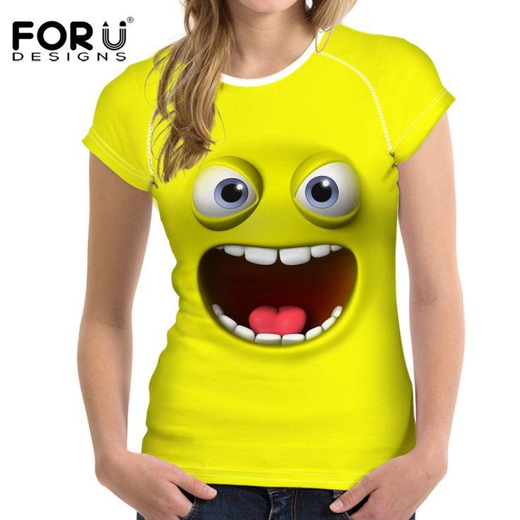 FORUDESIGNS 2017 New Women Yellow T-Shirt Cute Emoji Clothes Tops for Female Tee Shirt Femme Casual Summer Best Friends T Shirt