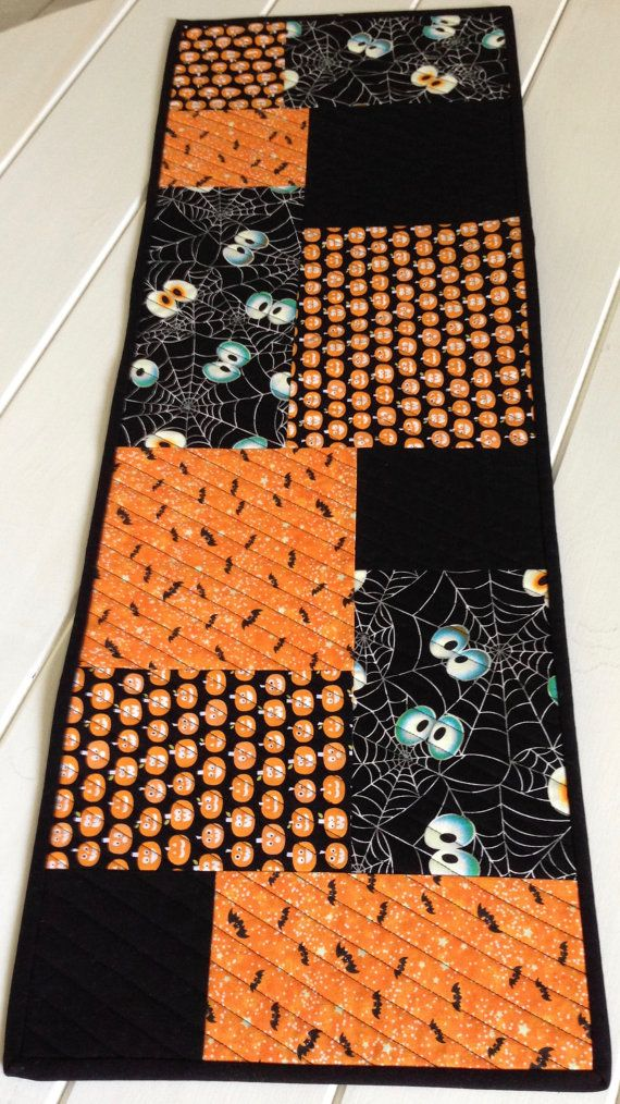 Halloween Quilted Table RunnerPumpkinsBats and by LawsonCreations