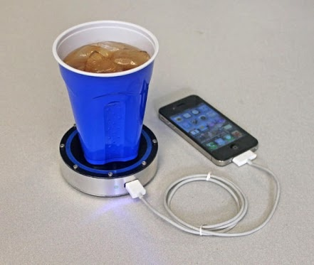 Charge Iphone with your Coffe Cup                         Charge Your Iphone with Drinks  The Epiphany onE Puck uses a Stirling engine powered solely by heat disparities to generate the electricity to keep your phone up and running.  The device has two sides; a blue side for cold drinks and a red side for hot drinks. According to its creators, a hot drink is the optimal way to charge a device. It comes with a USB port that can charge any device that draws 1000 mA or less. Price is $99