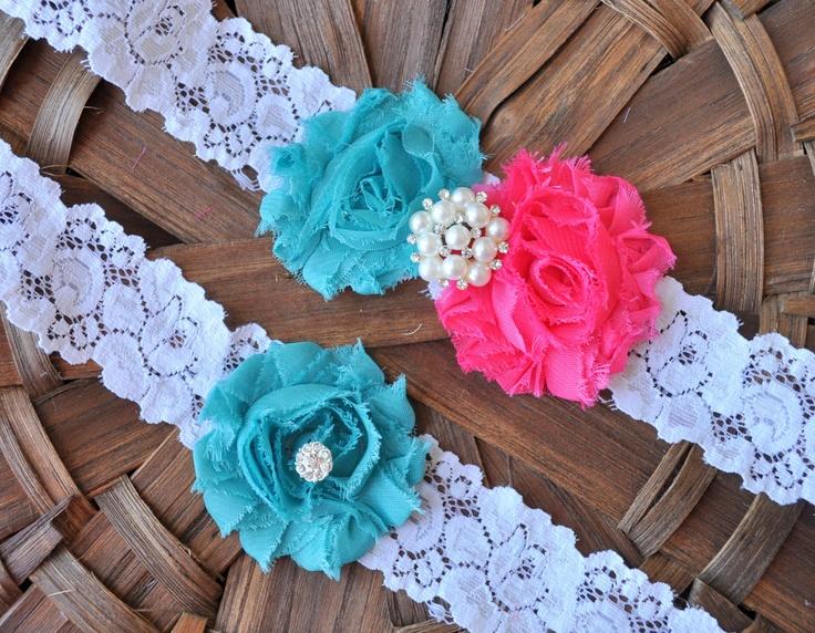 Wedding Garter, Bridal Garter Set - White Lace Garter, Keepsake Garter, Toss Garter, Shabby Chiffon Hot Pink Aqua Wedding Garter. $22.00, via Etsy.