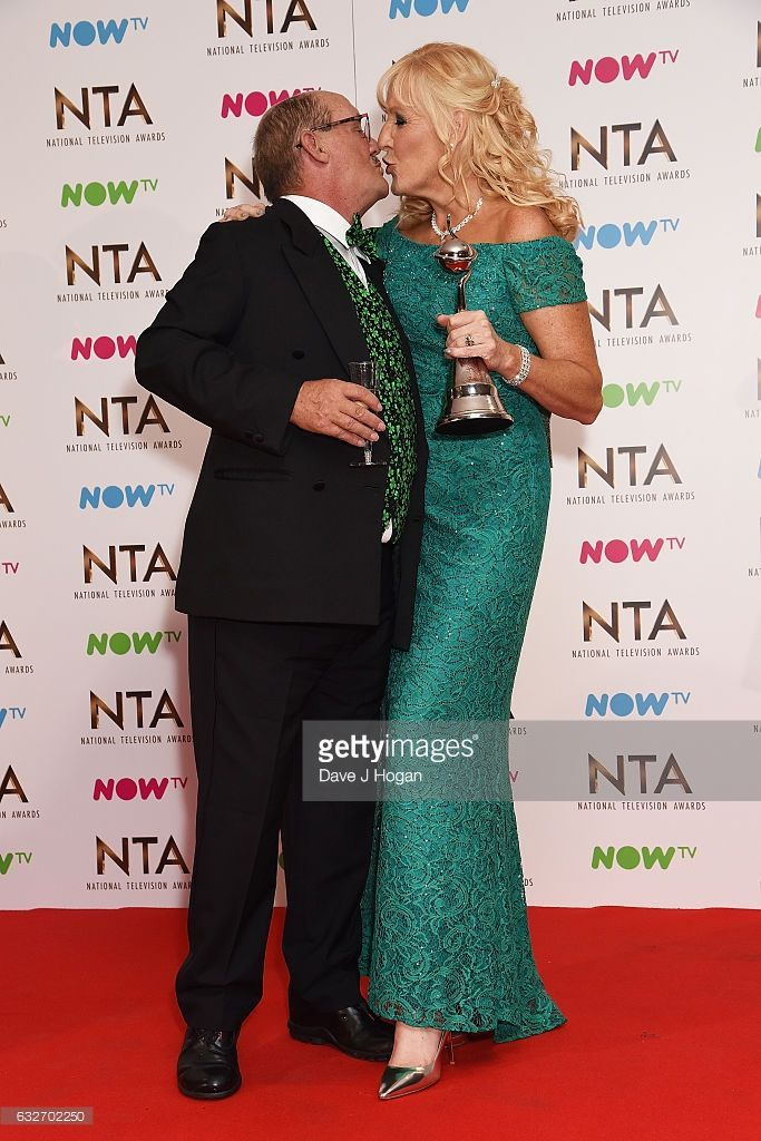 Brendan O'Carroll and Jennifer O'Carroll pose in the winners room at the National Television Awards at The O2 Arena on January 25, 2017 in London, England.