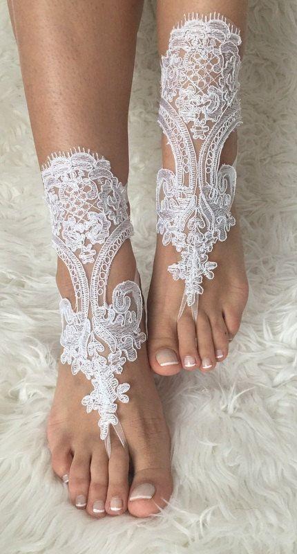 white lace barefoot sandals flexible wrist by LaceBarefootSandals