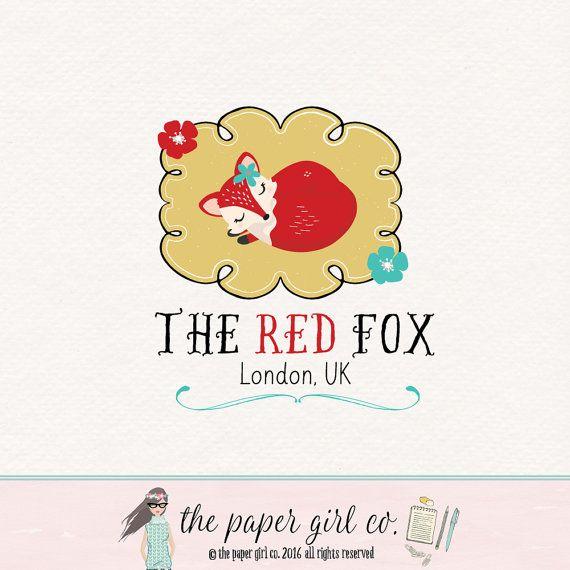 fox logo design woodland logo design premade by ThePaperGirlCo