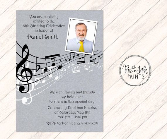 Music Notes Retirement Invitation Music by PixieInkPrints on Etsy