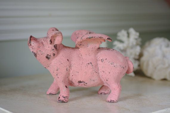 Home Decor Cast Iron Flying Pig  Pink Pig by ByTheSeashoreDecor, $38.00