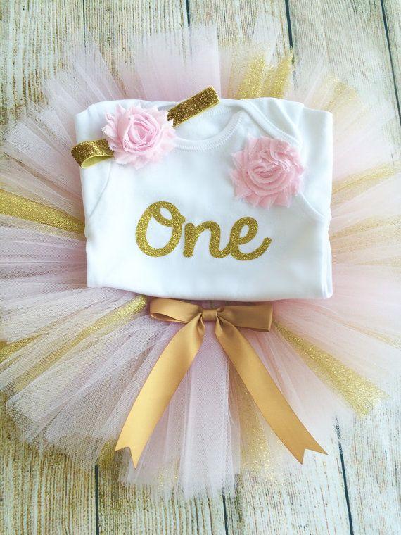 Roze & Gouden verjaardag Tutu Outfit gouden door FunkyBubbaloo