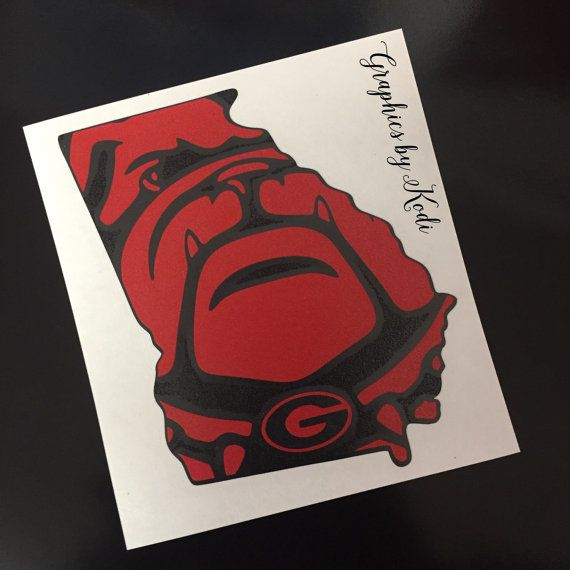 UGA Bulldog Decal Sticker - Red and Black - Georgia - University of Georgia Sticker - Georgia Bulldog - Georgia Decal