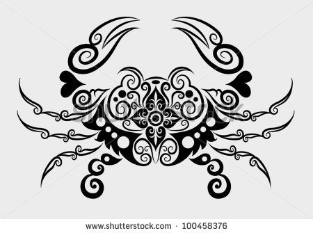 Decorative crab. animal decoration and abstract floral ornament, for tattoo design - stock vector