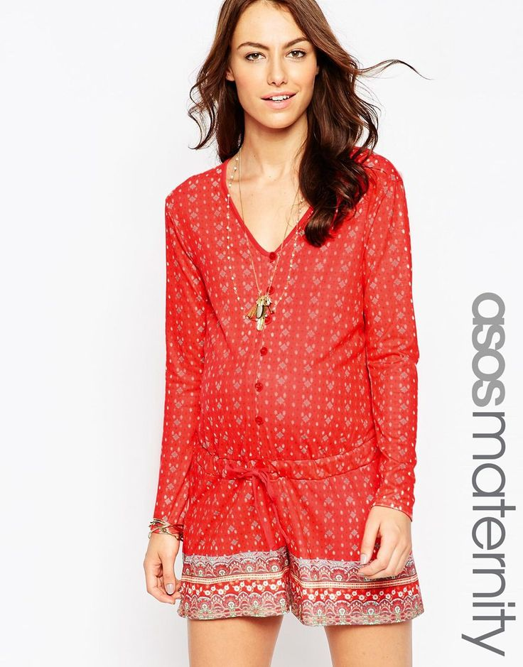 Image 1 of ASOS Maternity Playsuit In Border Print