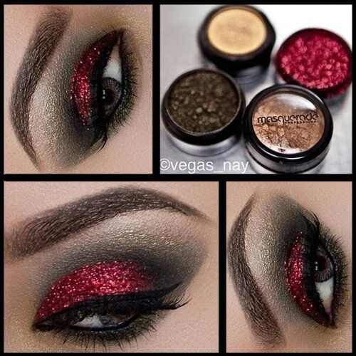 Red and Black Eyeshadow... Sexy! Red and blue are approximate opposites on the color wheel so this would make blue eyes pop! My new to do is to get a red shadow.