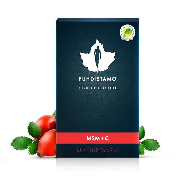 Puhdistamon Premium MSM + C tuotteen sisältämä C-vitamiini on peräisin amla-uutteesta ja ruusunmarjasta. MSM on paljon käytettyä OptiMSM-laatua. Ruusunmarjamehujauhe ja kuivattu verigreippimehu antavat juomalle pirteän raikkaan maun.