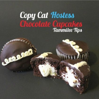 Hostess Chocolate Cupcakes Copycat Recipe (use a devils food cake for cupcakes instead of box)