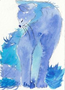 "aceo original a blue Cat"" Preening"" watercolour by anne newton | eBay"