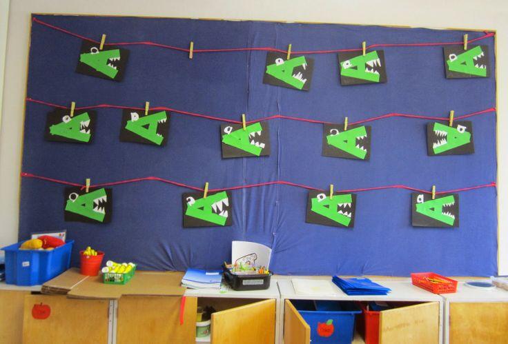 Nimikoiduilla pyykkipojilla oppilaiden työt näytille. Voivat itse ripustaa ja viedä vanhan työn kuviskansioon.