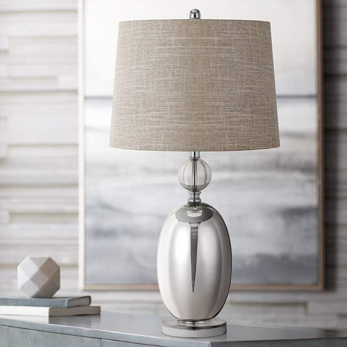Perth Glass Table Lamp With Dark Gray Shade 63j97 Lamps Plus