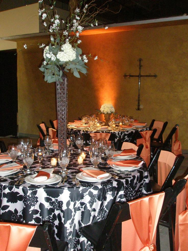 Beautiful black, white & persimmon wedding reception. TreasuredWeddingsbyTonya