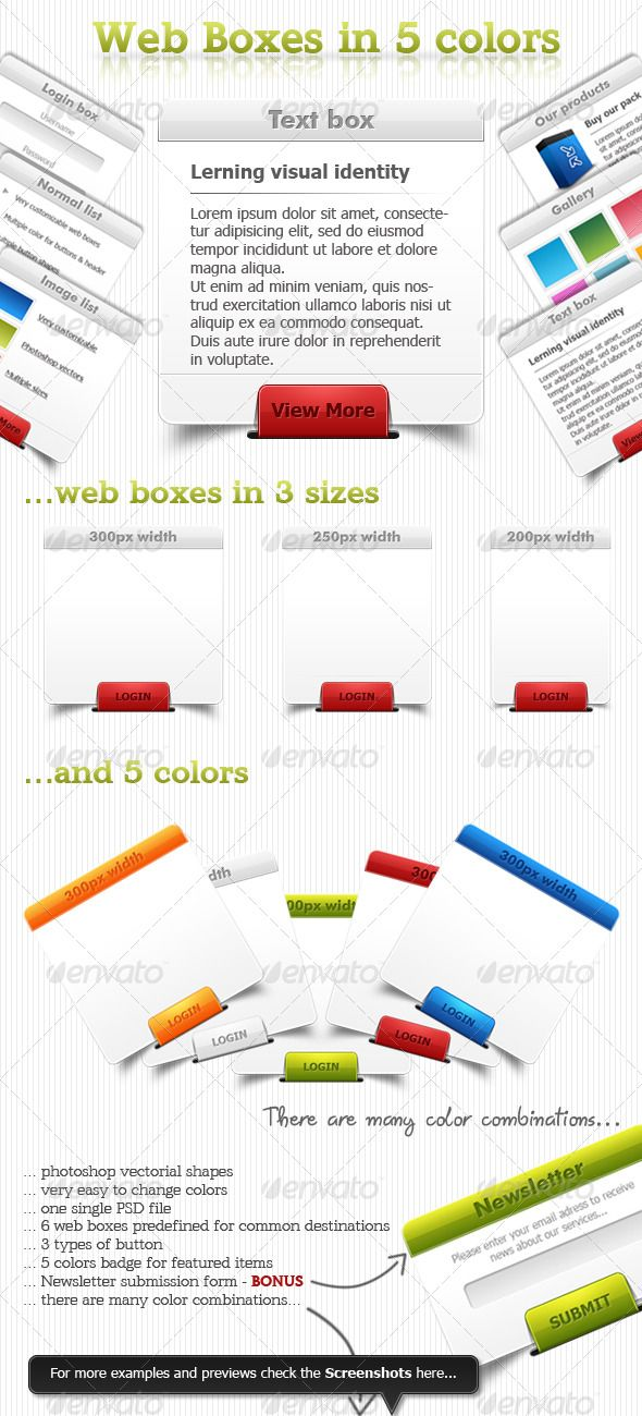 This is an awesome pack of multicolored web boxes with multiple customizable options. These web boxes have 3 button shapes and a