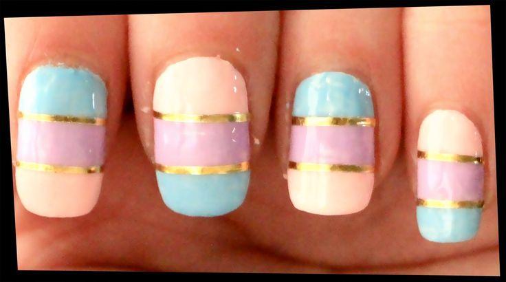 Simple Pastel & Gold nail art