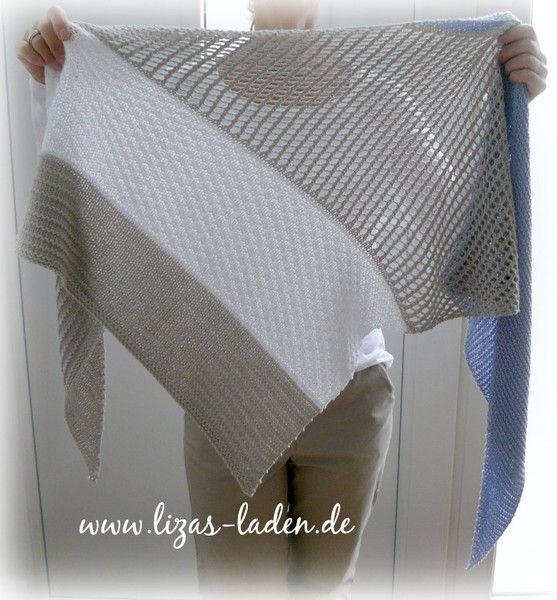 """**Anleitung für ein gestricktes Dreieckstuch mit Lochmuster**  1. Für dieses Tuch habe ich Lana Grossa """"Elastico"""" verwendet. Das Garn besteht aus 96 % Baumwolle und 4 %  Polyester und ist daduch..."""