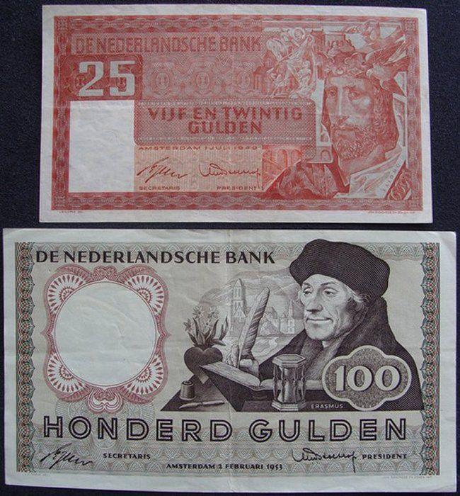 """Nederland  100 Gulden 1953 """"Erasmus"""" + 25 Gulden 1949 """"Salomo"""""""